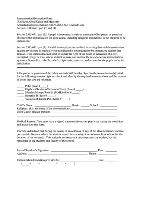 ohio vaccine exemption form immunization exemption form printable pdf download