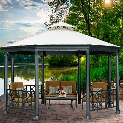 sunjoy waverly octagonal ft ft metal permanent gazebo wayfairca