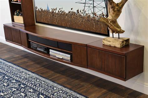 Floating Media Wall Shelf Cabinet   Curve Mocha   3 Piece