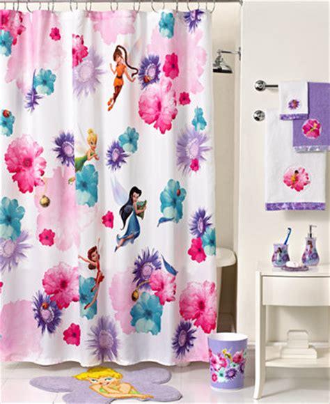 Disney Fairies Bathroom Accessories disney bath accessories fairies rosey shower curtain