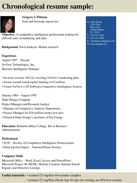 Food And Beverage Supervisor Resume Exles by Top 8 Food And Beverage Supervisor Resume Sles