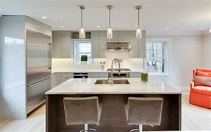 Gloss Gray Contemporary Kitchen With Dark Island