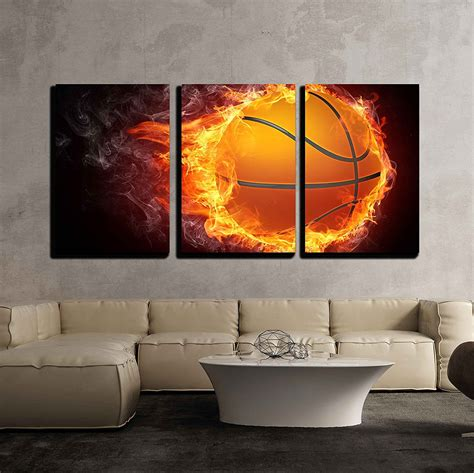 Fabric pennants and tapestries add color, texture and pizzazz. wall26 - 3 Piece Canvas Wall Art - Basketball Ball on Fire. 2D Graphics. Computer Design ...