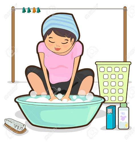 how do you hand wash clothes in a sink woman washing clothes clipart 55