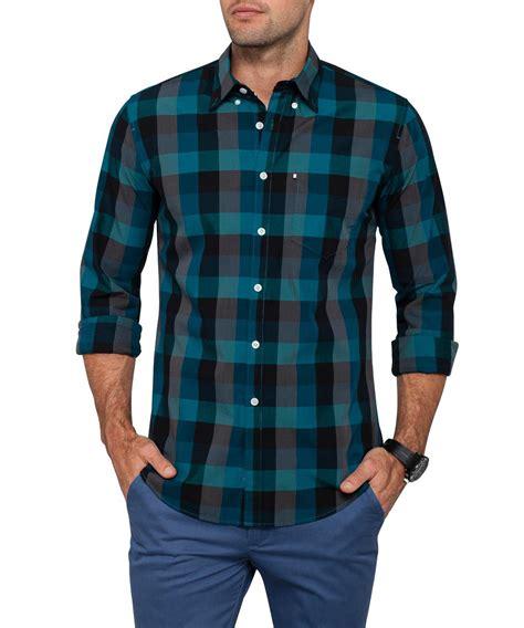 van heusen casual dark green check shirt van heusen