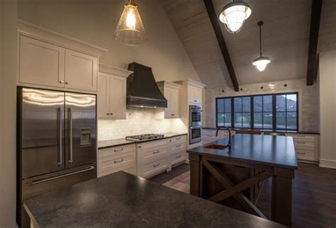 vaulted ceiling open concept transitional kitchen
