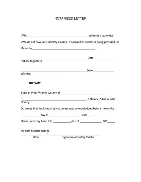 notary letter template sample notarized