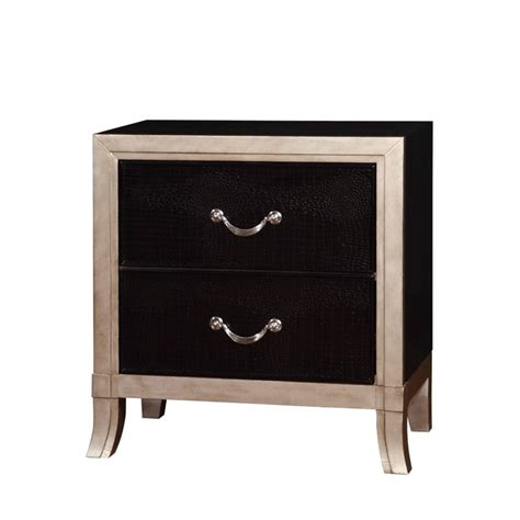 leather nightstands furniture of america camie 2 drawer faux leather nightstand in silver idf 7264n