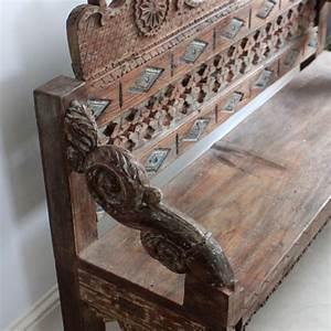Ornate Carved Wooden Bench - Kasakosa Home Decor