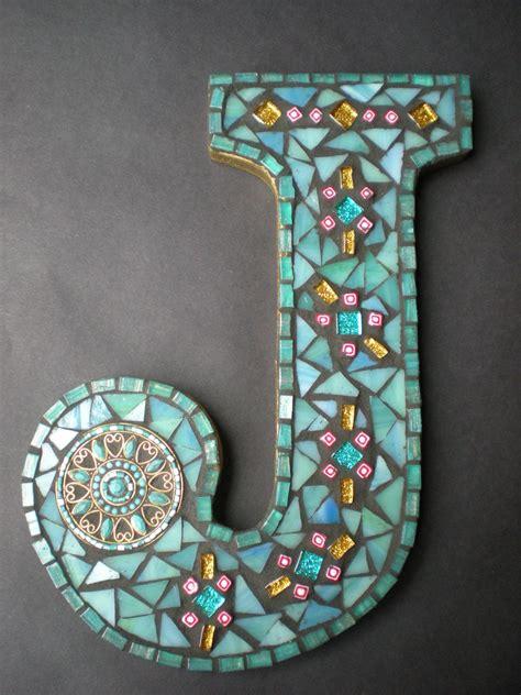custom mosaic monogram  choose  color letter  design mosaic crafts custom mosaic