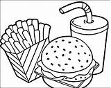 Fries Burger Drawing Coloring French Cola Getdrawings sketch template