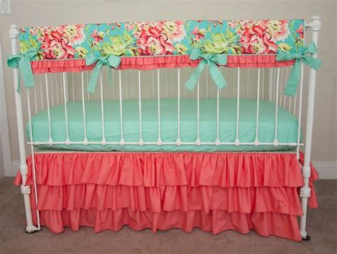teal and coral baby bedding bumperless teal coral and mint designer baby crib