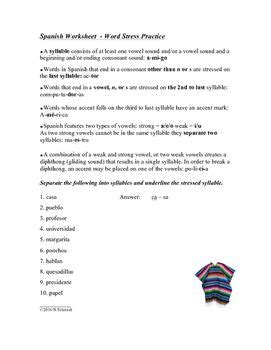 word stress worksheet syllables accents
