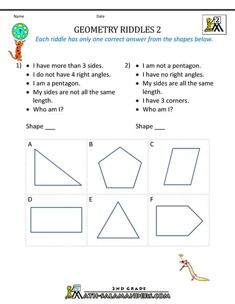 worksheets on geometry for grade 2 free geometry worksheets 2nd grade geometry riddles