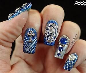 sapphire splendor jeweled nail design feat daily charme