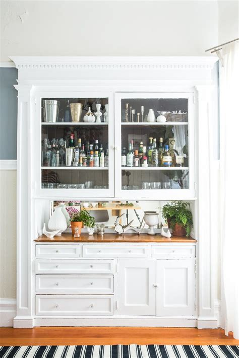 Bar Built In by White Built In Bar Wood Countertops Glass Cabinets