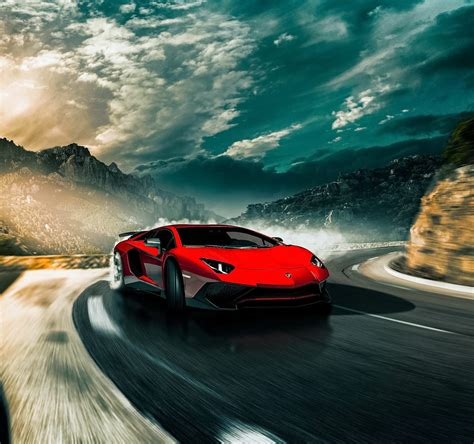 Lamborghini Aventador Sport Car Red Car Super Car