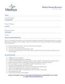 healthcare resume sle radiologic technologist