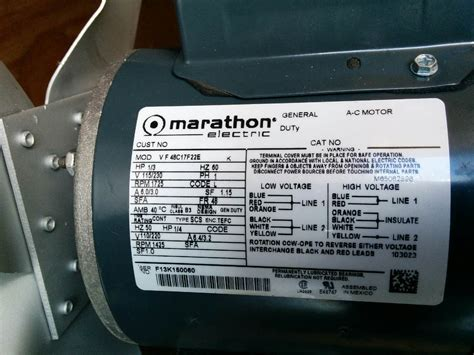 i a marathon electric motor 1 3 hp i m trying to