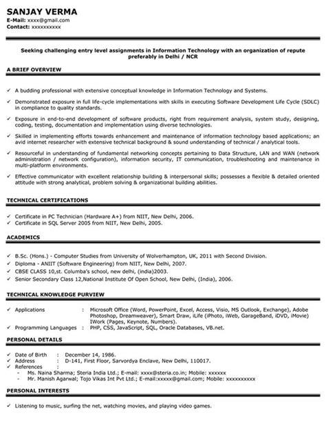 Effective Cv Sles by Impressive Resume Format Freshers Experienced Cv Sle