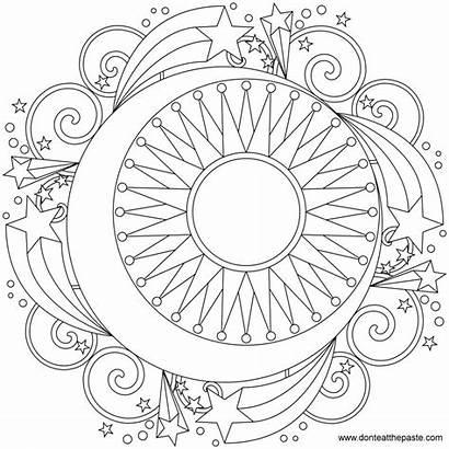 Sun Moon Coloring Mandala Pages Designs Printable
