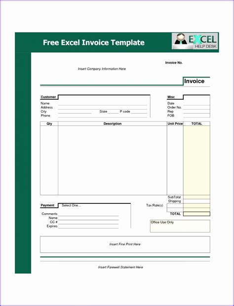 microsoft excel invoice template