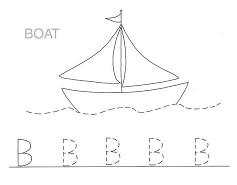 On A Boat Word Trace by Boat Is For Letter B Coloring Page Capital Letter Tracing