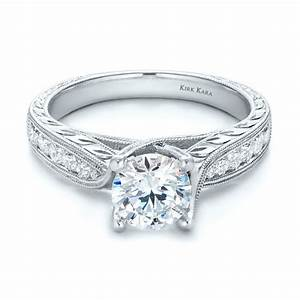 diamond and hand engraved engagement ring with matching With engraved wedding rings
