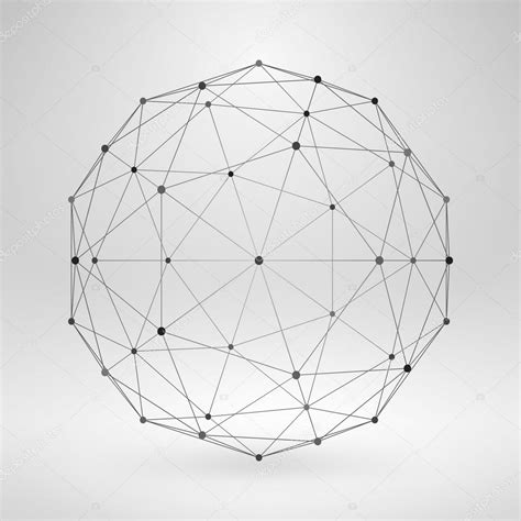 wireframe polygonal element  sphere  lines  dots