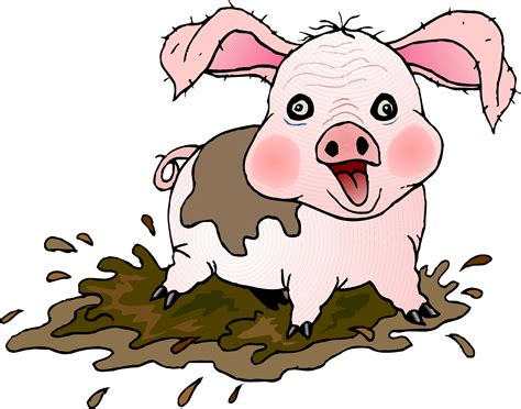 Cartoon Pig Playing In Mud Clipart