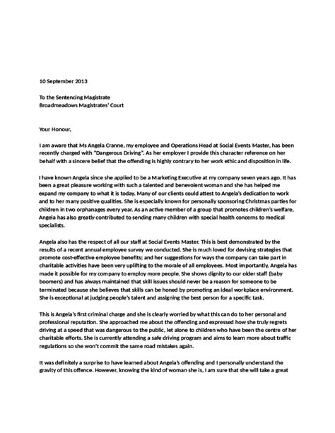 character reference letter  court templates word