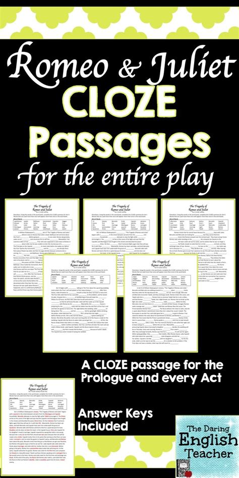 Romeo And Juliet Cloze Summary Passages  Key, Shakespeare And English