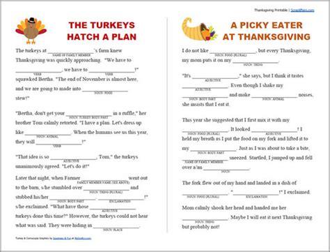 Printable Thanksgiving Mad Libs