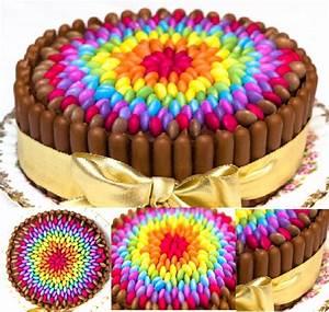 DIY Easy Chocolate Rainbow Smarties Cake