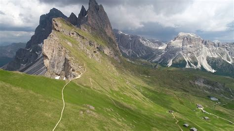 aerial view of mountains landscape near Seceda view point ...