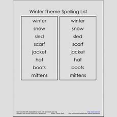Winter Theme Spelling Unit  Winter Vocabulary  Spelling Packet Abcteach