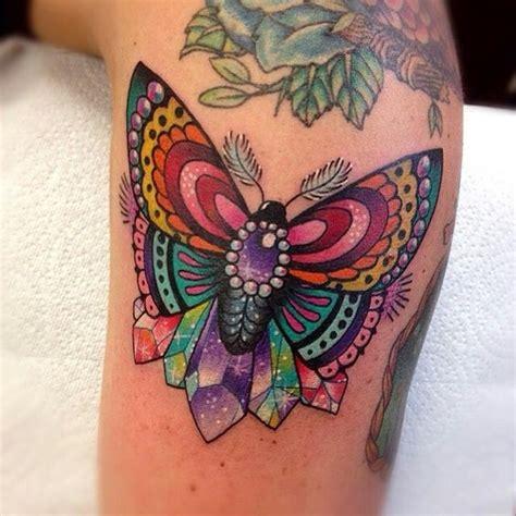 vivid color moth  shinning gems tattoo  arm tattoospm