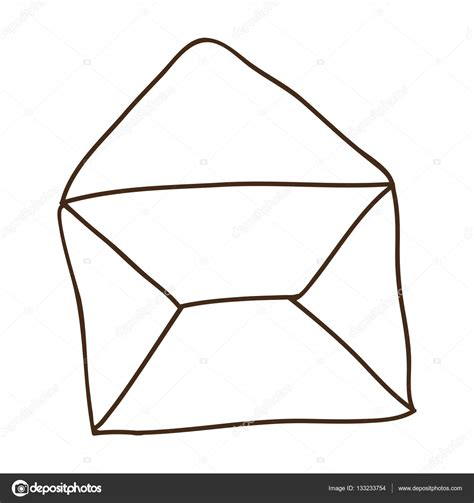 Hand drawing of contour envelope mail open — Stock Vector ...