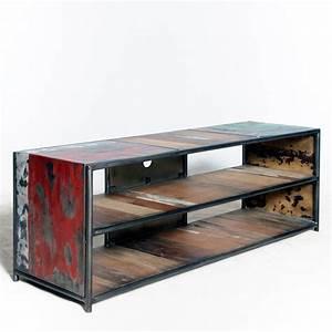 Meuble Industriel Vintage : meuble vintage industriel meuble tv loft en m tal et bois recycl s ~ Teatrodelosmanantiales.com Idées de Décoration