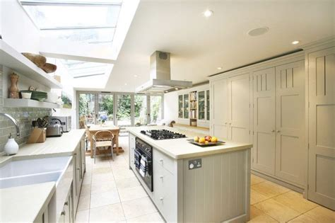 Glass side return kitchen extension   Grey cabinets