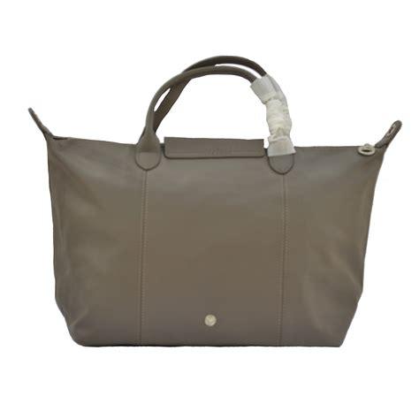 tas branded wanita authentic longch le pliage cuir medium original with beige