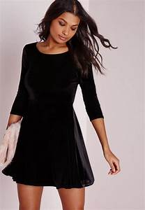 robe patineuse en velours noir manches 3 4 missguided With robe en velours noir