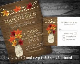 fall themed wedding invitations rustic fall wedding invitations jar by notedoccasions