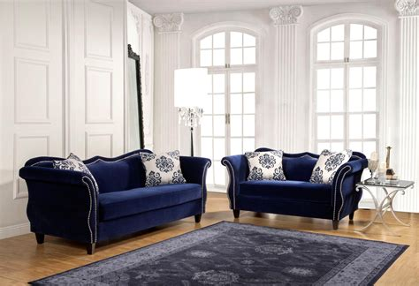 2 Pcs Royal Blue Sofa Set Coffee Table Book Publishers India Brass And Glass Stone Sled Industrial Rustic Ultra Modern Tables Lift Top Mechanism High