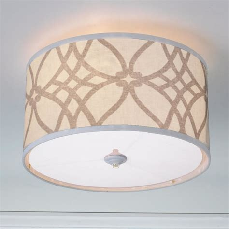 trellis linen drum shade ceiling light 2 colors l