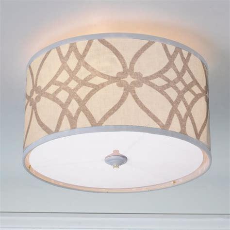 trellis linen drum shade ceiling light 2 colors l