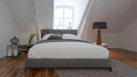 chambre b b sous pente intérieur de chambre à coucher avec le lit sous une pente