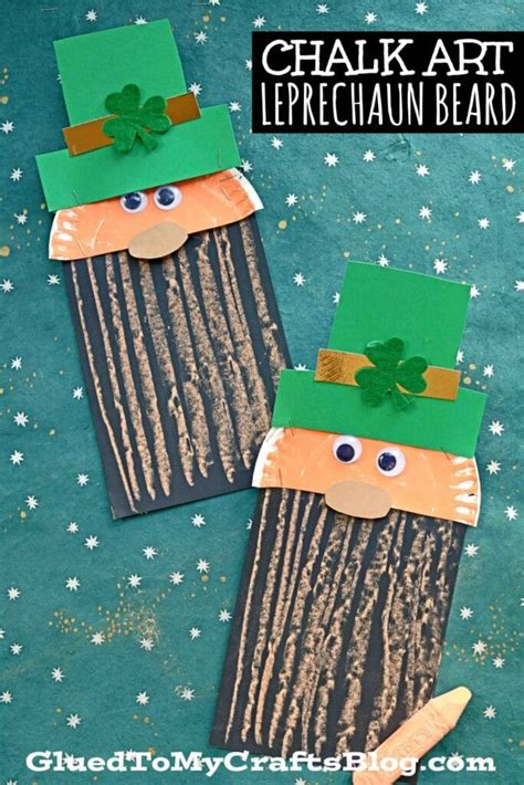 paper chalk art leprechaun beard craft  kids glued
