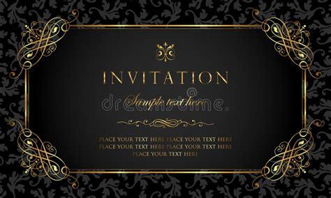 Invitation Card Design Luxury Black And Gold Vintage