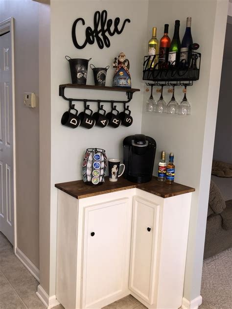 Curious as to what an elegant design for home. 30+ Best Home Coffee Bar Ideas for All Coffee Lovers | Coffee bar home, Small apartment ...